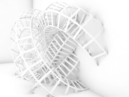 grid background: Abstract digital background, white wire-frame structure. 3d render illustration Stock Photo