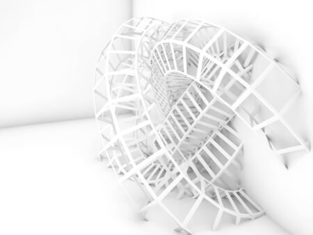 ceiling: Abstract white digital background, bent wire structure installation. 3d render illustration Stock Photo