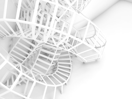 Abstract digital background, white wire installation. 3d render illustration Stock Photo