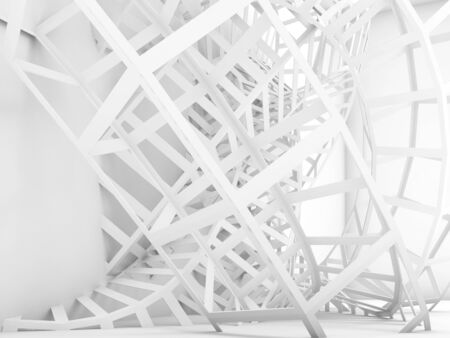 grid background: Abstract digital background, white knotted wire structure installation. 3d render illustration