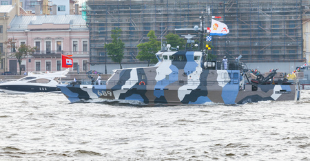 sabotage: Saint-Petersburg, Russia - July 28, 2017: Warship goes on the Neva River. Rehearsal for the parade of Russian naval forces. Counter sabotage Project 21980 boat Grachonok Editorial