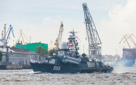 battleship: Saint-Petersburg, Russia - July 28, 2017: Warship on the Neva River. Rehearsal for the parade of Russian naval forces. Nanuchka-class missile corvette