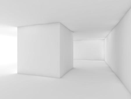 Abstrakter weißer leerer Innenraum, zeitgenössisches Raumdesign des offenen Raumes. 3d darstellung