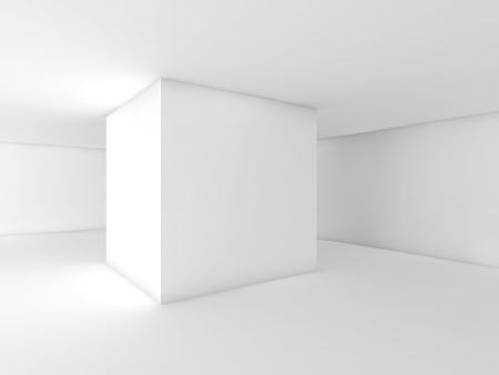 Abstract white empty room, contemporary open space interior design. 3d render Banco de Imagens - 83909512