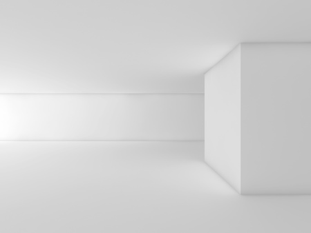 Abstract White Empty Interior, Open Space Design Template
