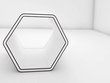 install: Empty white hexagonal stand with black contours in blank room interior, 3d illustration