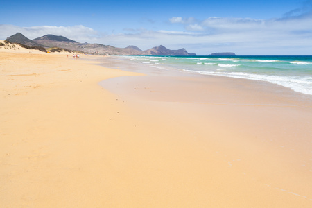 Sandy wide beach landscape of the island of Porto Santo in the Madeira archipelago, Portugal Stok Fotoğraf