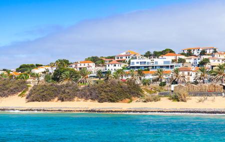 Vila Baleira town. Coastal landscape of the island of Porto Santo in the Madeira archipelago