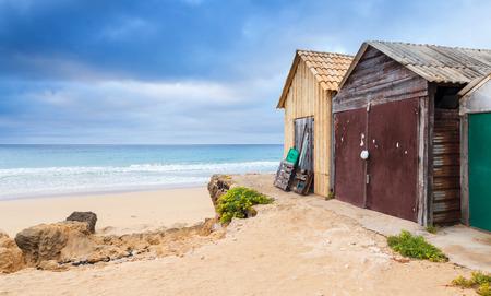 Coastal barns on the beach of the island of Porto Santo in the Madeira archipelago, Portugal