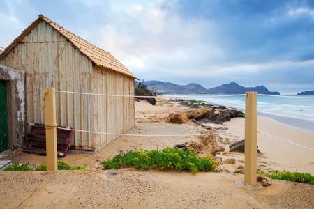 Coastal barn on the beach of the island of Porto Santo in the Madeira archipelago, Portugal