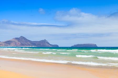 Sandy beach landscape of the island of Porto Santo in the Madeira archipelago, Portugal