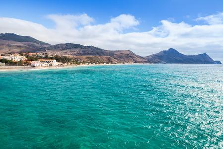 Vila Baleira bay. Coastal landscape of the island of Porto Santo in the Madeira archipelago