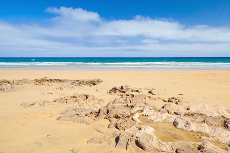 Sandstone rocks on the beach of Porto Santo, island in the Madeira archipelago Imagens