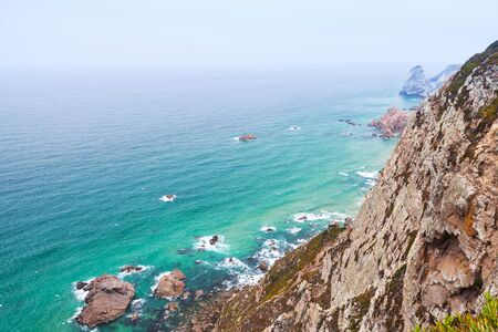 Coastal rocks of Cabo da Roca a popular tourist attraction and limit of continental Europe