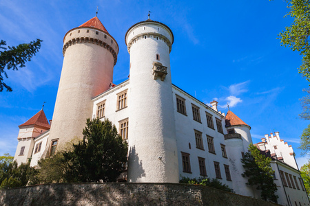 Konopiste castle, Czech Republic. It was established in the 1280s and renovated between 1889 and 1894 by the architect Josef Mocker into a luxurious residence for Archduke Franz Ferdinand of Austria Editorial