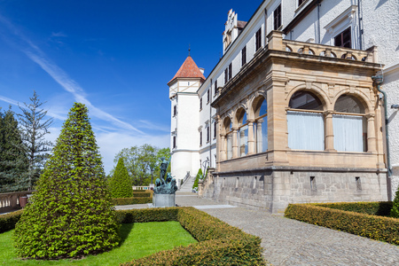 Konopiste castle park in summer day, It was established in the 1280s and renovated between 1889 and 1894 by the architect Josef Mocker into a residence for Archduke Franz Ferdinand of Austria Editorial