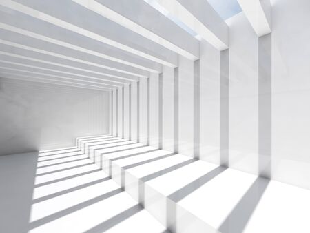 Empty white interior background. Room with ceiling illumination and striped pattern of shadows and lights, 3d render illustration Banco de Imagens
