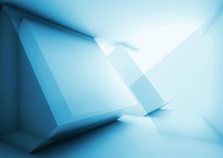 추상 파란색 첨단 디지털 배경 빛나는 intersected 낮은 - 다각형 큐브 구조, 3d 렌더링 그림 이중 노출 효과