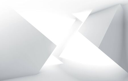 Abstract white high-tech digital background with shining intersected low-polygonal cubes structures, 3d render illustration with double exposure effect