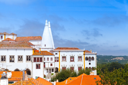 The Palace of Sintra in summer. Town Palace is located in Sintra, Lisbon District, Portugal Stock Photo