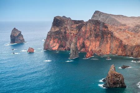 Ponta de Sao Laurenco. Coastal rocky islets, Madeira, Portugal Stock Photo