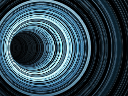 Abstract digital background, dark tunnel of glowing blue rings, 3d render illustration