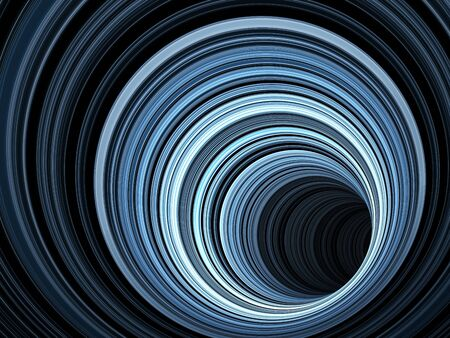 Abstract dark digital background, tunnel of glowing blue rings, 3d render illustration Stock Photo