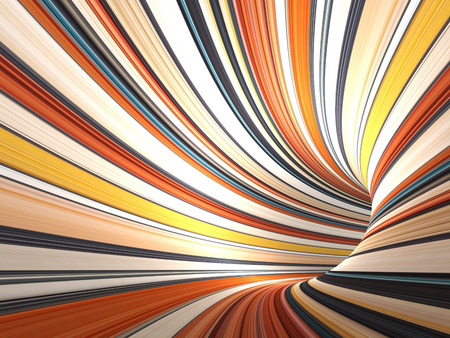 Abstract colorful cg background, empty bent tunnel, 3d render illustration
