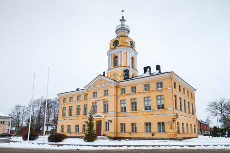 renovated: Hamina, Finland - December 13, 2014: Facade of historical town Hall. Originally built in 1798, was renovated by Carl Ludvig Engel in 1840 Editorial