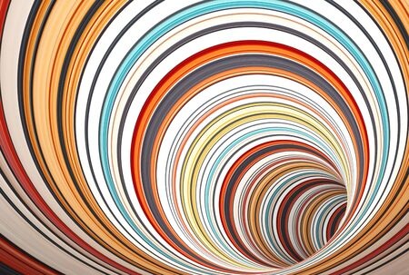 Abstract digital background pattern, turning tunnel of colorful rings, 3d render illustration