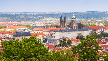 Czech Republic, panoramic view of Prague with St. Vitus Cathedral Stock Photo
