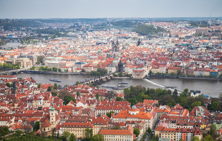 Panoramic aerial view of Prague. Charles Bridge over Vltava river in summer day Stock Photo