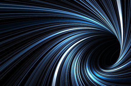 Dark blue tunnel with pattern of glowing spiral lines, abstract digital graphic background, 3d illustration 免版税图像