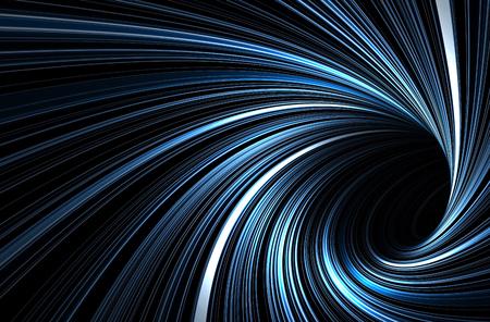 Tunnel blu scuro con il modello delle linee a spirale d'ardore, fondo grafico digitale astratto, illustrazione 3d