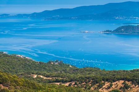 Summer coastal landscape of French island Corsica. Piana region Stock Photo