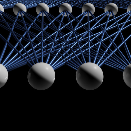 Artificial neural networks structure fragment isolated on black, 3d render illustration