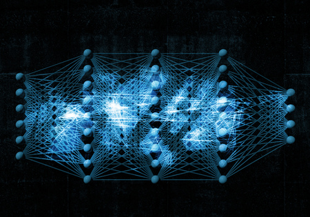 Artificial deep neural network, digital blue background, 3d illustration Foto de archivo