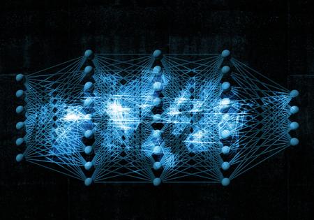 Artificial deep neural network, digital blue background, 3d illustration Stock Photo