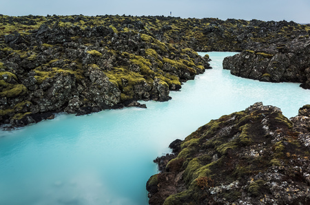 Iceland, Blue lagoon. This natural geothermal spa is one of the most visited tourist attractions in Iceland 스톡 콘텐츠