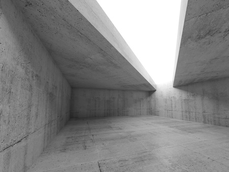 Abstracte minimalisme architectuurachtergrond, leeg concreet ruimtebinnenland met witte asymmetrische plafondopening. 3D illustratie