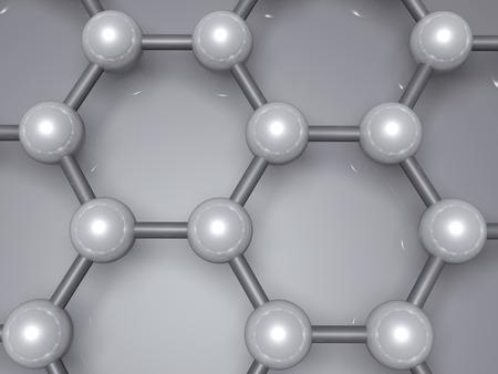 Graphene layer fragment, schematic molecular model, hexagonal lattice made of carbon atoms. 3d illustration