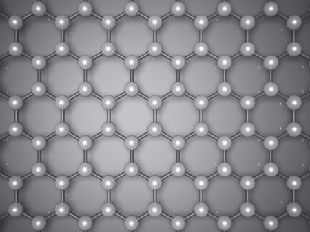 Graphene layer structure, top view. Hexagonal lattice of carbon atoms. 3d illustration