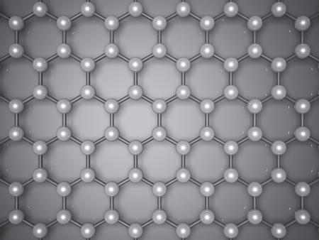 Graphene layer structure, top view. Hexagonal lattice of carbon atoms. 3d illustration