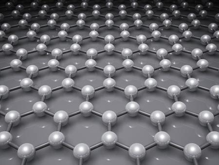 Graphene layer, schematic molecular model of hexagonal lattice. 3d illustration