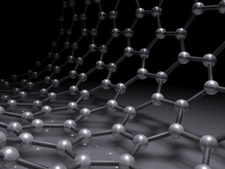 Single-walled zigzag carbon nanotubes structure scheme, atoms of carbon in wrapped hexagonal lattice on black, 3d illustration