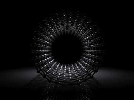 Single-walled zigzag carbon nanotubes molecular structure, front view on black background, 3d illustration