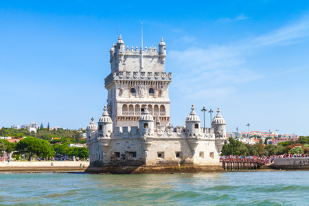 Belem tower or the Tower of St Vincent, one of the most popular tourist attractions of Lisbon, Portugal. It was built in the early 16th century Banco de Imagens