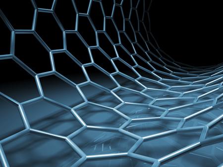 Blue hexagonal mesh tube structure. 3d illustration Stock Photo