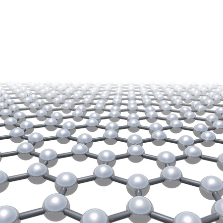 Graphene layer, schematic molecular model, hexagonal lattice made of carbon atoms isolated on white background, 3d render illustration