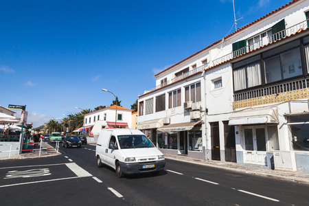 Vila Baleira, Portugal - August 18, 2017: Street view of Vila Baleira the only city and the capital of Porto Santo Island, Madeira, ordinary people walk the street Editorial